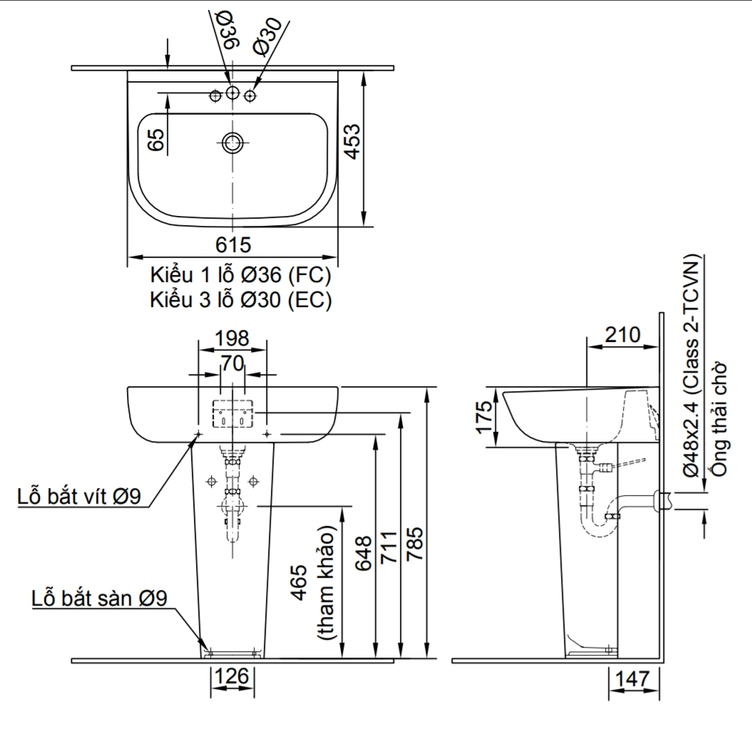 Thông số kĩ thuật chân chậu lavabo dài INAX L-298VD