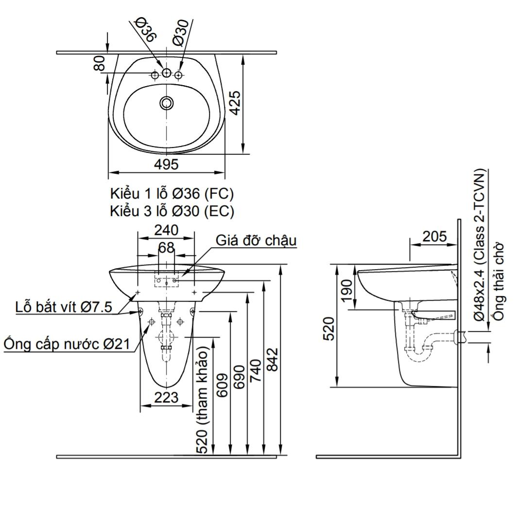 Thông số kĩ thuật chân chậu lavabo treo tường INAX L-284VC