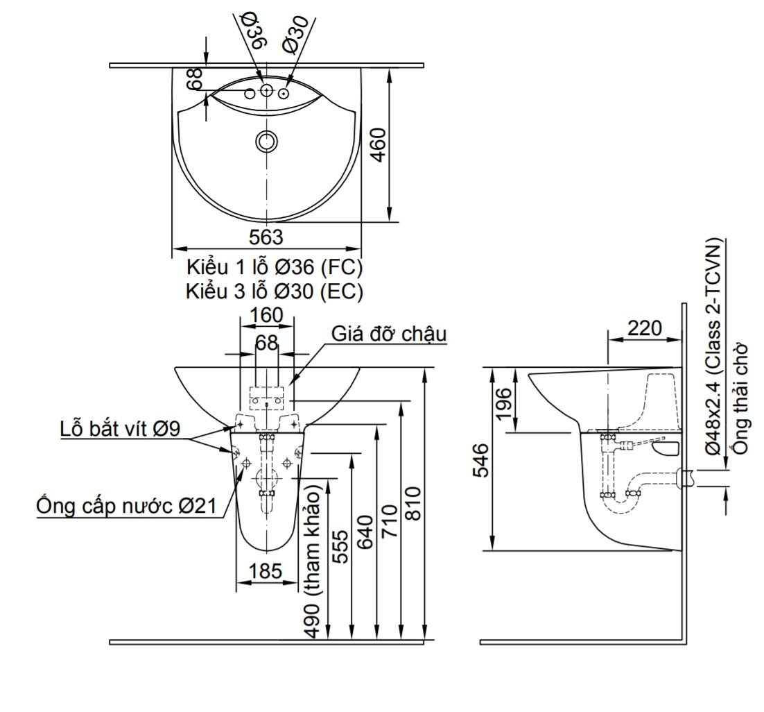 Thông số kĩ thuật chân chậu lavabo treo tường INAX L-288VC