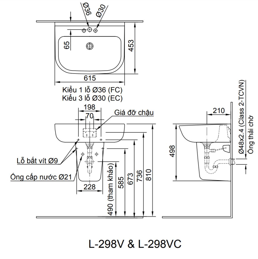 Thông số kĩ thuật chân chậu lavabo treo tường INAX L-298VC