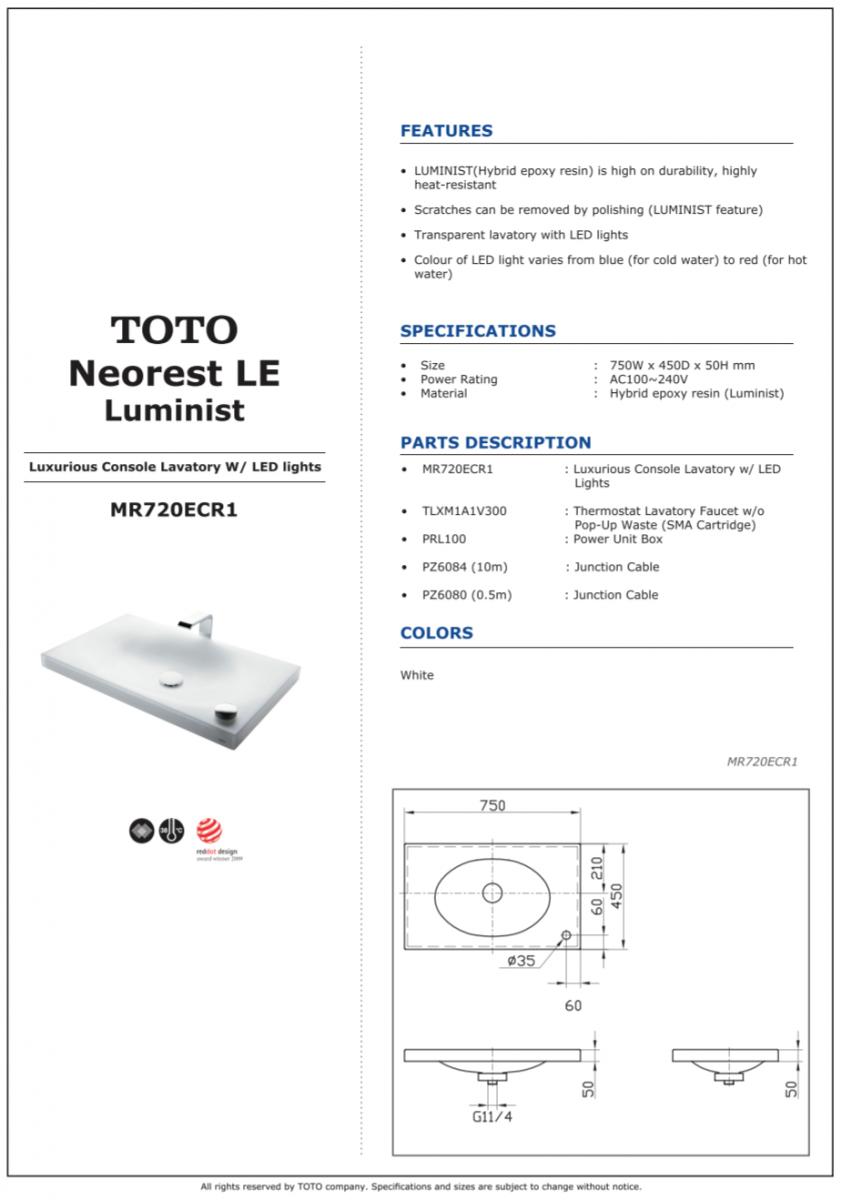 Thông số kĩ thuật chậu rửa mặt lavabo đặt bàn TOTO NEOREST MR720ECR1