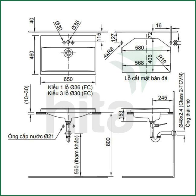 Thông số kĩ thuật lavabo dương vành inax AL-2397V