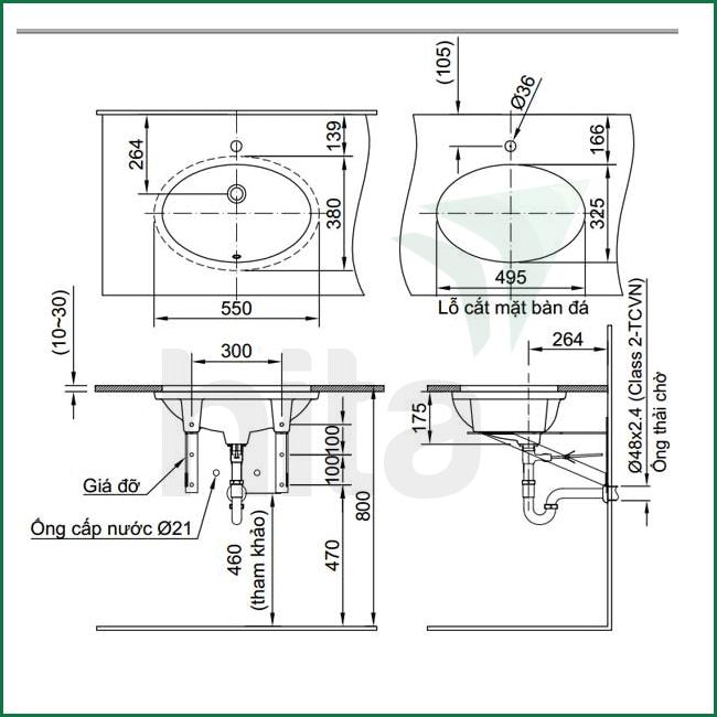 Thông số kĩ thuật lavabo âm bàn INAX AL-2216V