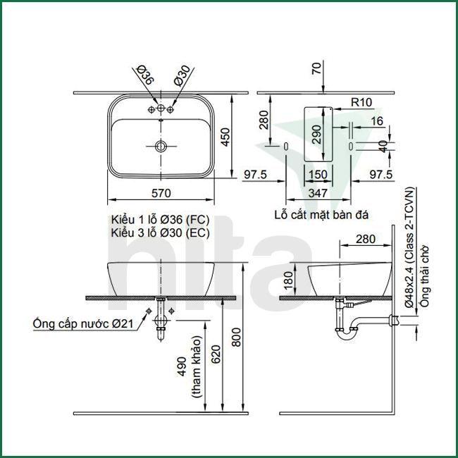 Thông số kĩ thuật bồn rửa mặt đặt bàn INAX AL-296V