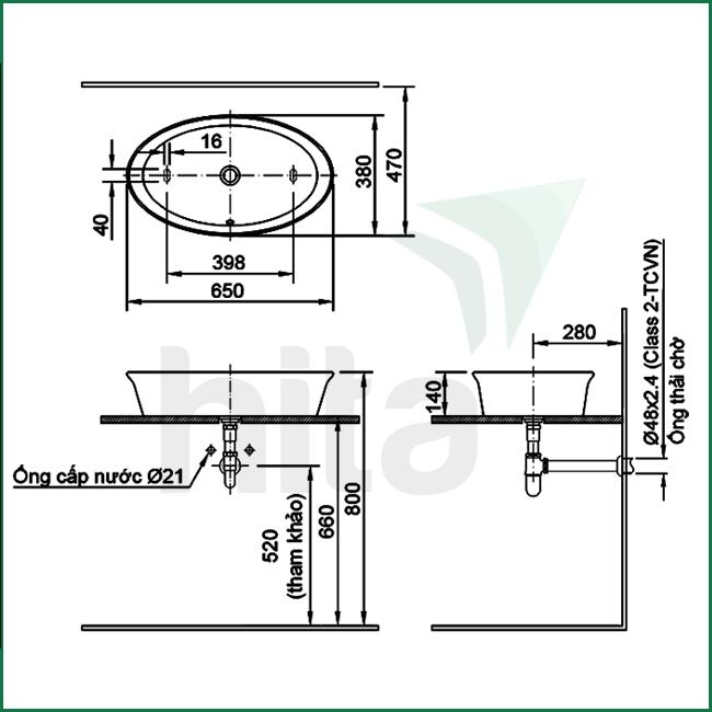 Thông số kĩ thuật lavabo đặt bàn INAX AL-300V