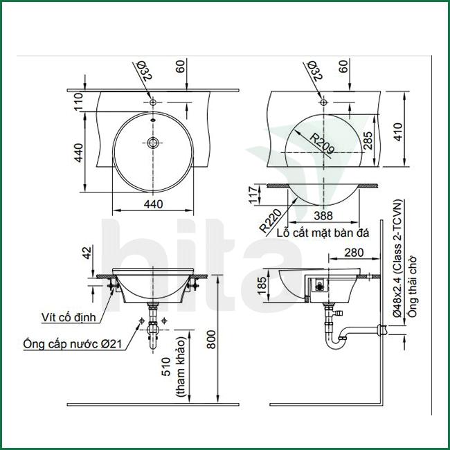 Thông số kĩ thuật lavabo inax AL-333V