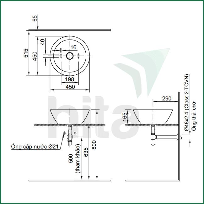 Thông số kĩ thuật lavabo Inax AL-445V Aqua Ceramic chất lượng cao, sáng bóng