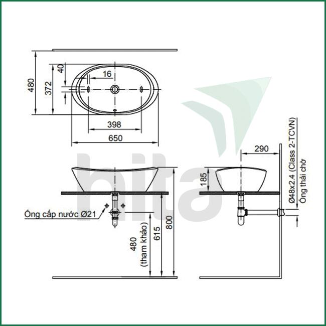 Thông số kĩ thuật lavabo đặt bàn inax AL-465V oval