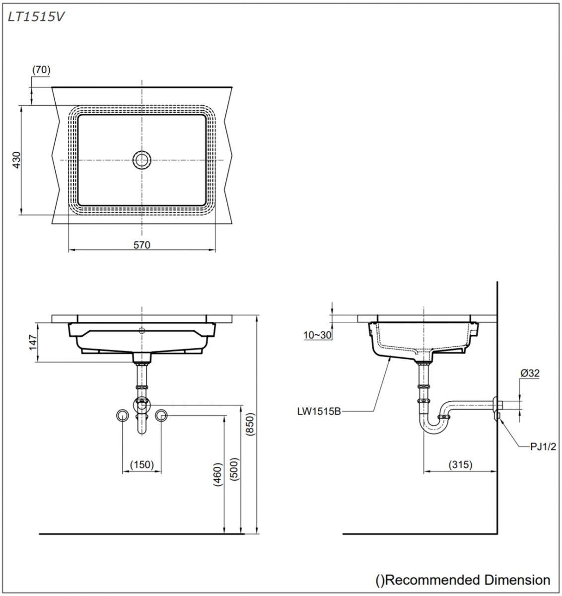Thông số kĩ thuật chậu rửa âm bàn TOTO LT1515