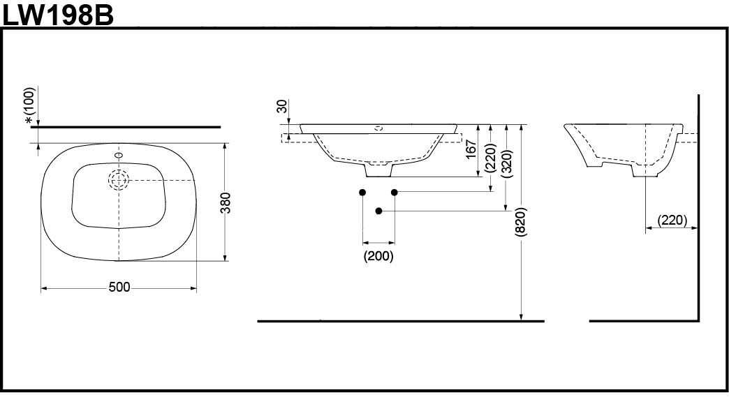 Thông số kĩ thuật lavabo bán âm bàn TOTO LW198B