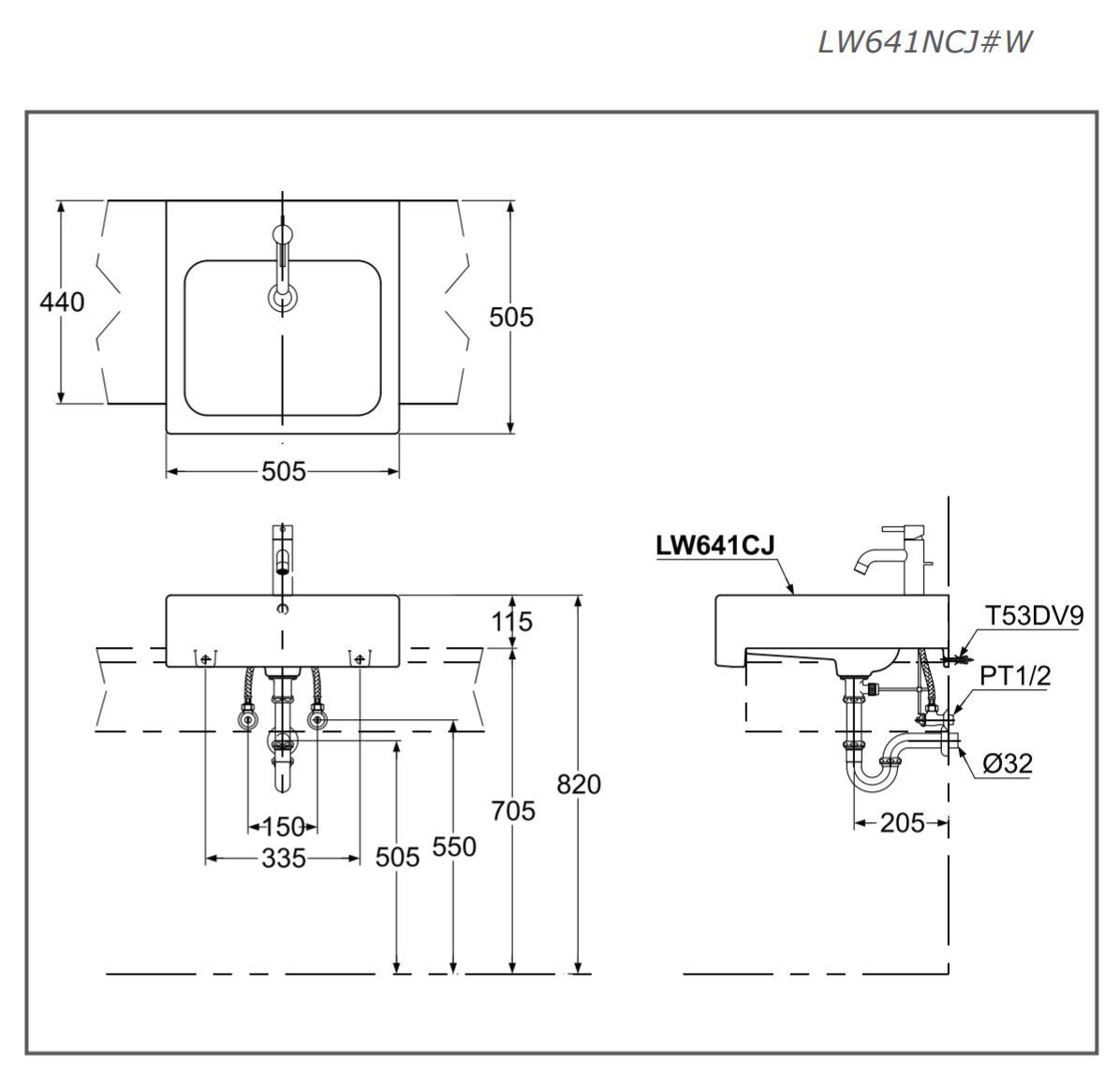 Thông số kĩ thuật lavabo bán âm bàn TOTO LW641NCJW/F