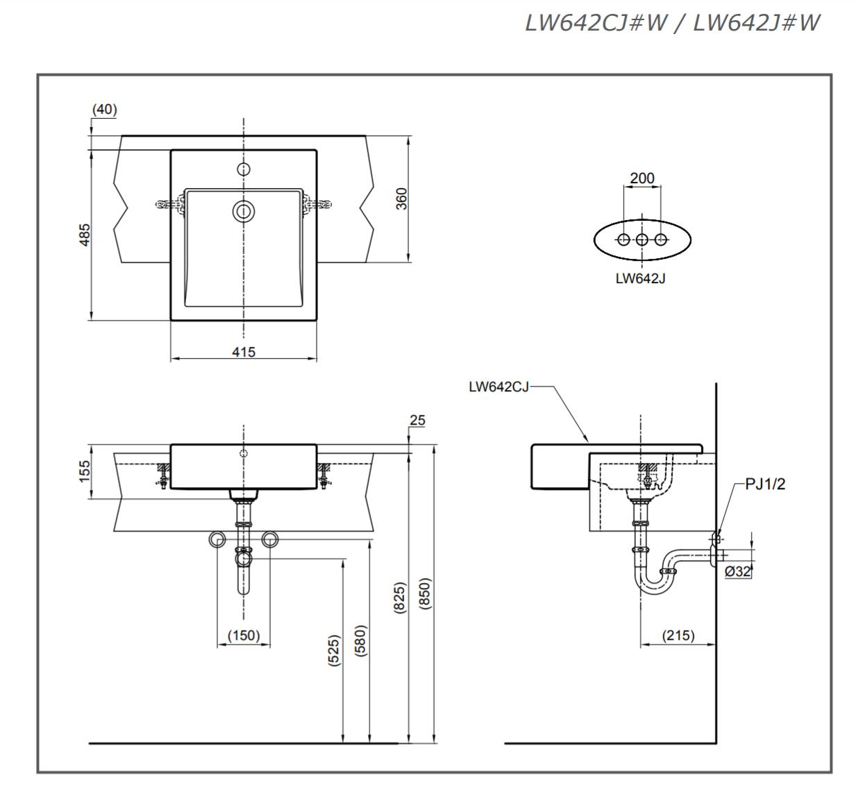 Thông số kĩ thuật lavabo bán âm bàn TOTO LW642CJW/F