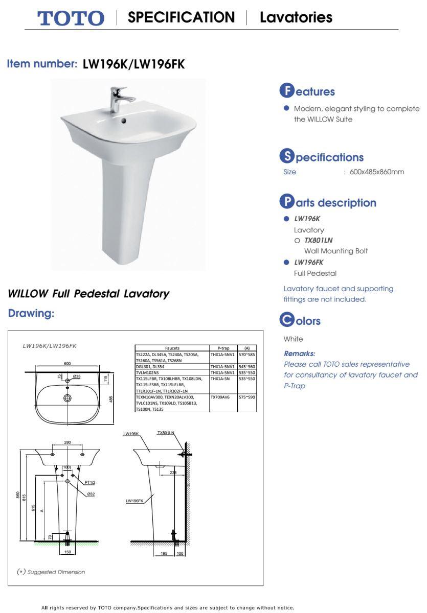 Thông số kĩ thuật lavabo chân dài TOTO LW196K/LW196FK