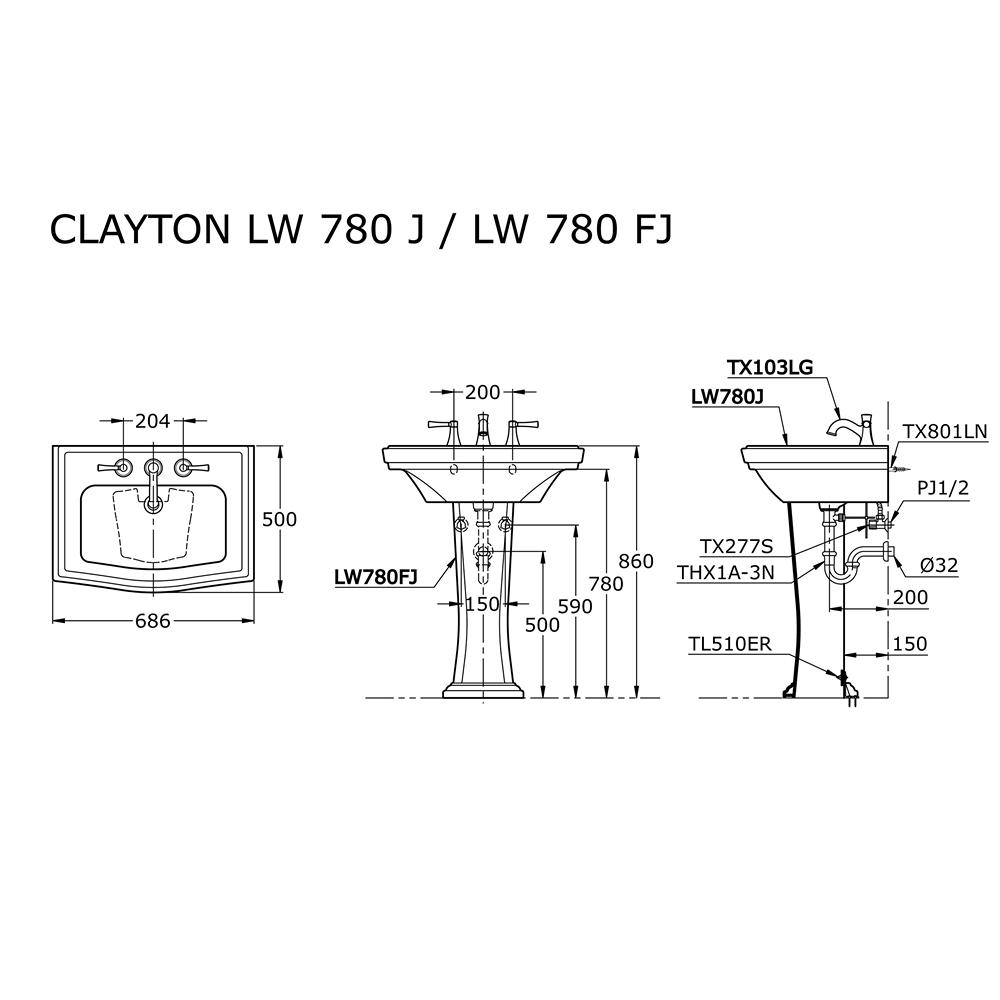 Thông số kĩ thuật lavabo chân lửng toto LW780J/LW780FJ