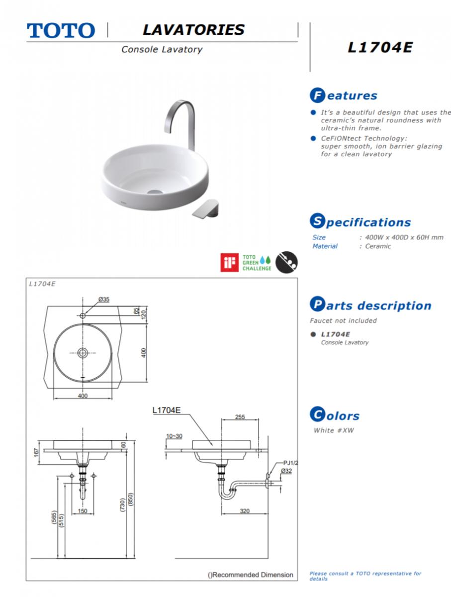 Thông số kĩ thuật lavabo đặt bàn TOTO chính hãng L1704