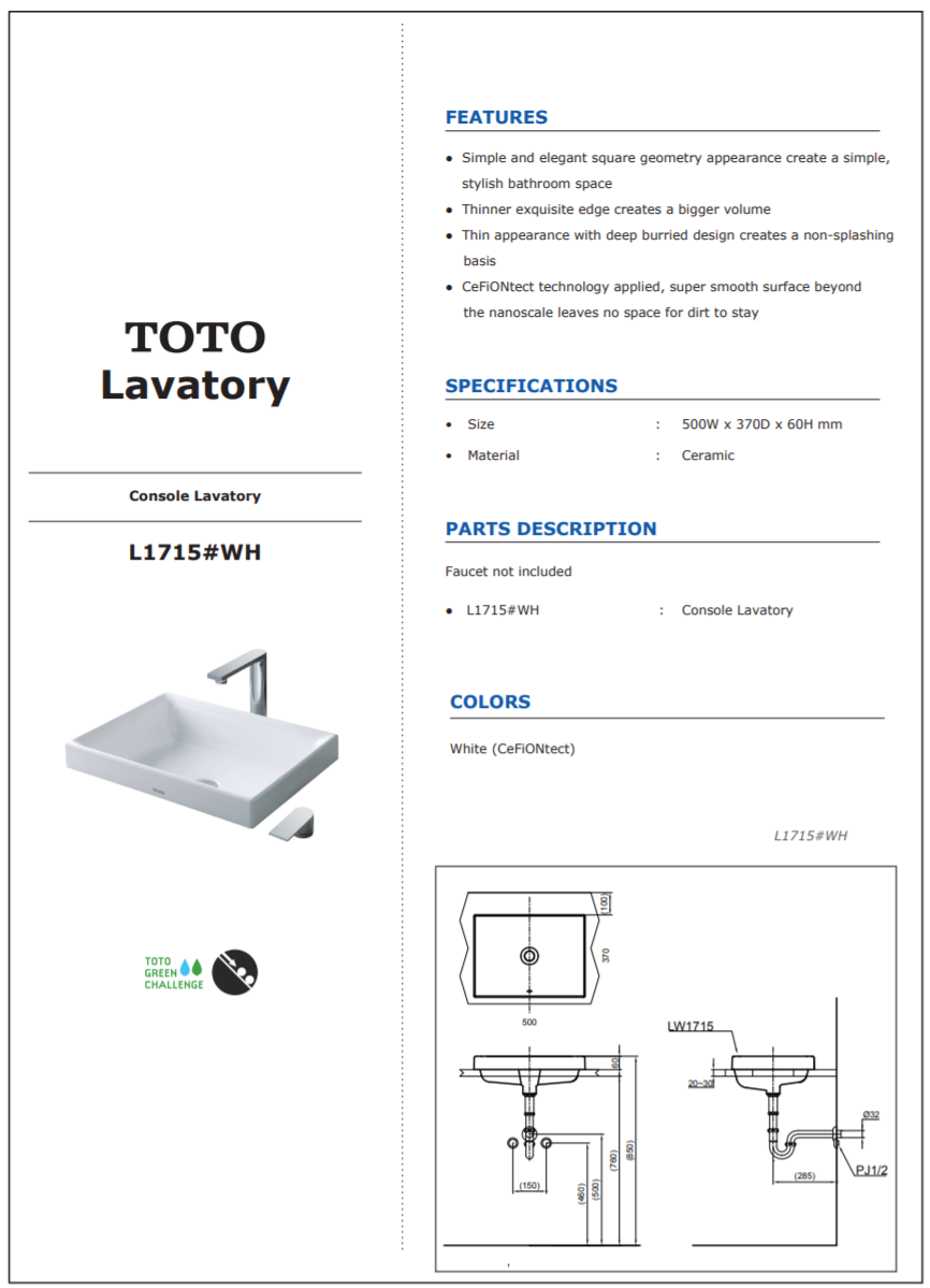 Thông số kĩ thuật lavabo đặt bàn TOTO L1715
