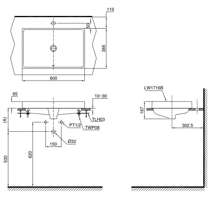 Thông số kĩ thuật lavabo TOTO đặt bàn cao cấp L1716