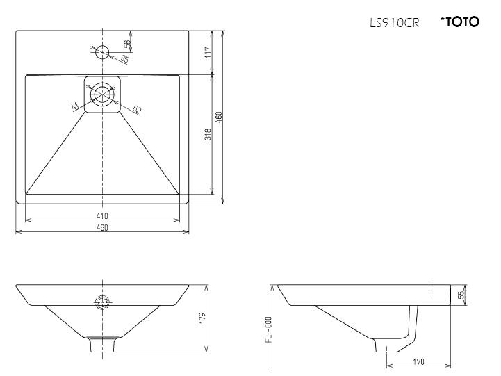 Thông số kĩ thuật lavabo đặt bàn TOTO cao cấp LS910CR