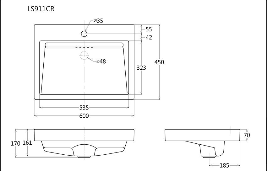 Thông số kĩ thuật mẫu chậu lavabo đặt bàn toto cao cấp LS911CR