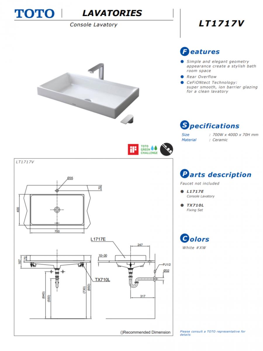 Thông số kĩ thuật bồn rửa mặt lavabo đặt bàn toto LT1717