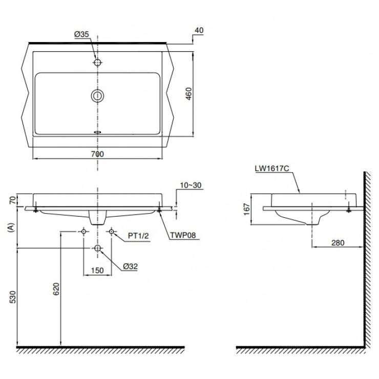Thông số kĩ thuật chậu rửa mặt lavabo đặt bàn TOTO chính hãng LW1617C