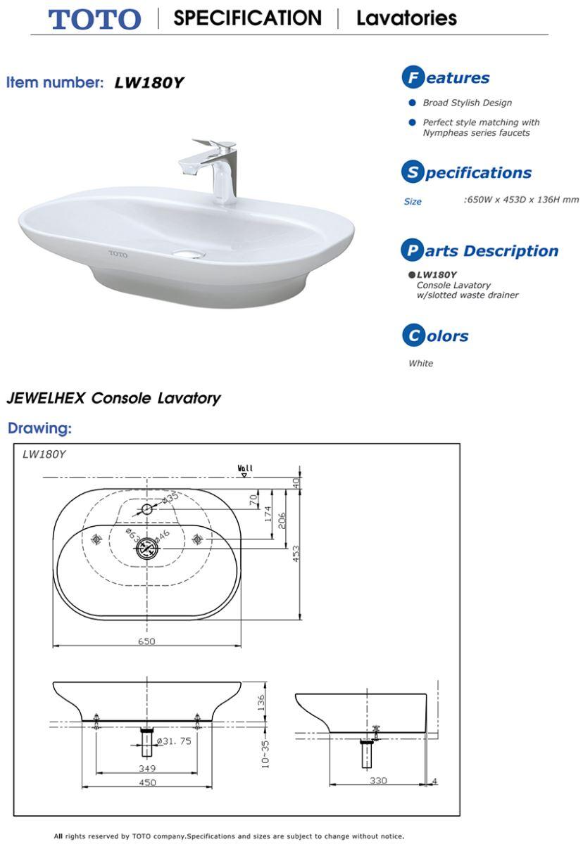 Thông số kĩ thuật mẫu lavabo đặt bàn TOTO LW180Y