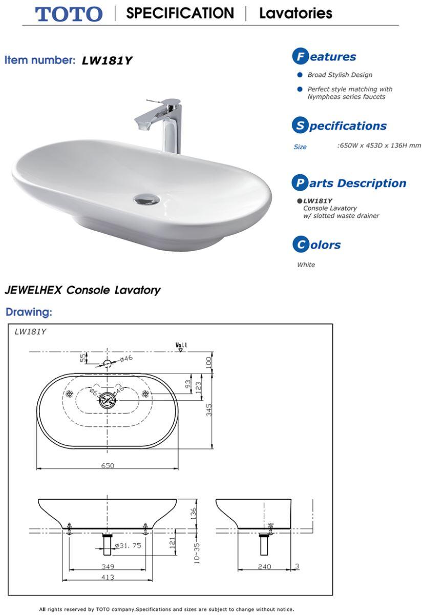 Thông số kĩ thuật bồn rửa mặt lavabo TOTO đặt bàn LW181Y