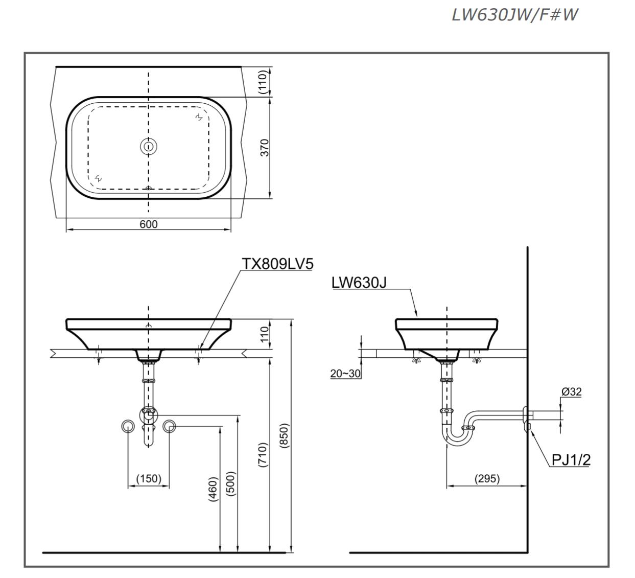 TSKT lavabo TOTO đặt bàn chính hãng LW630JW/F