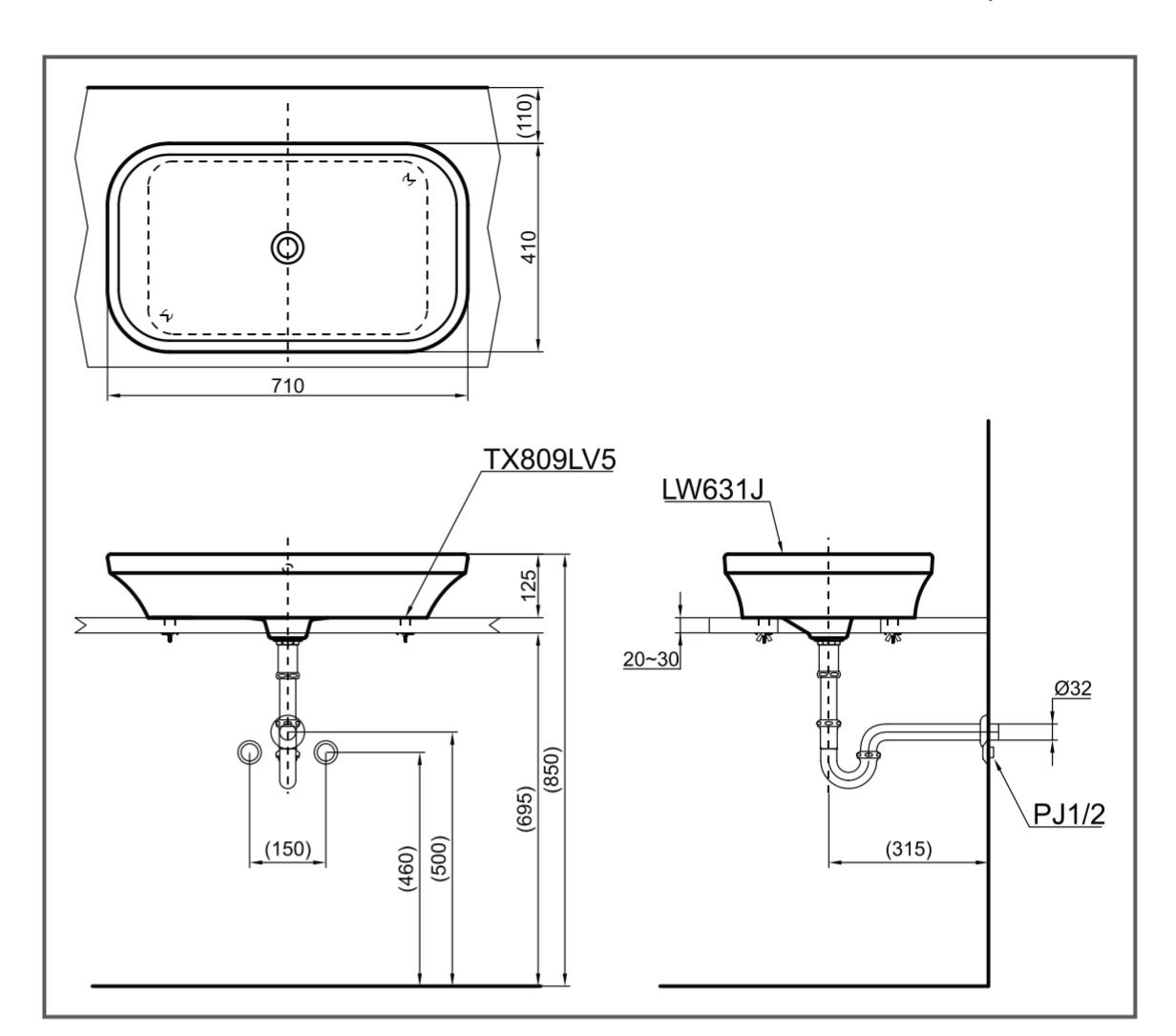 Bản vẽ kĩ thuật lavabo đặt bàn toto LW6301JW/F