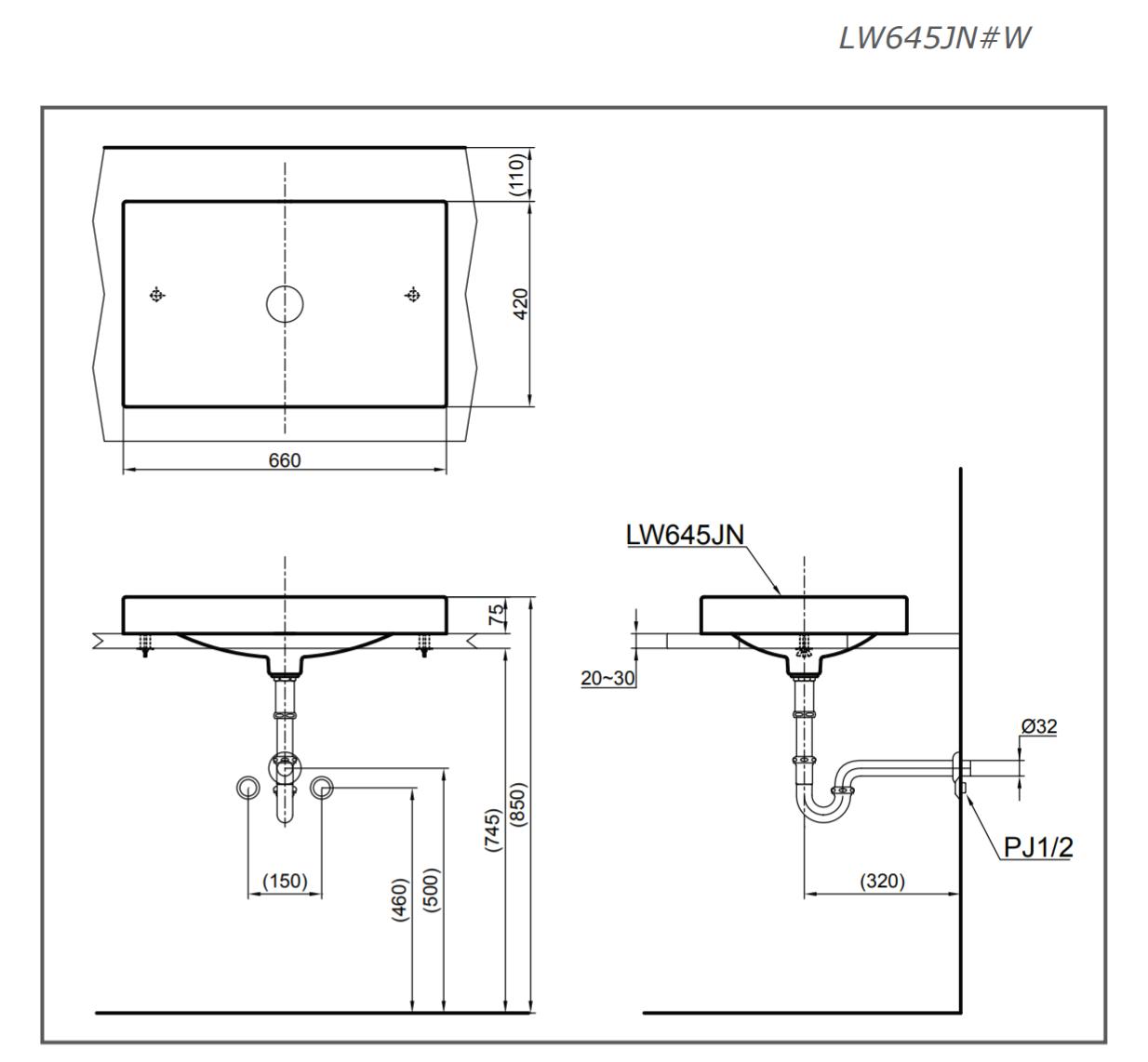 TSKT chậu rửa mặt đặt bàn TOTO LW645JNW/F
