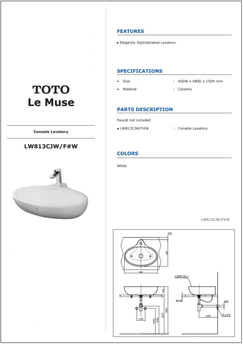 thông số kĩ thuật lavabo đặt bàn mới TOTO LW813CJW/F