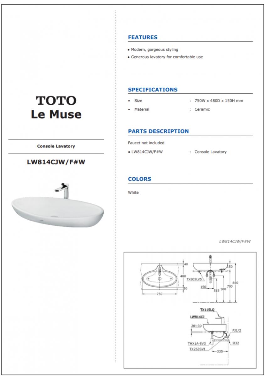 Thông số kĩ thuật lavabo đặt bàn TOTO LW814CJW/F