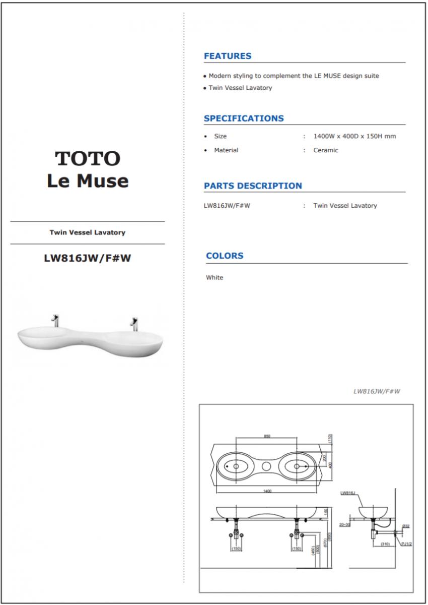 Thông số kĩ thuật lavabo đôi đặt bàn TOTO LW816JW/F