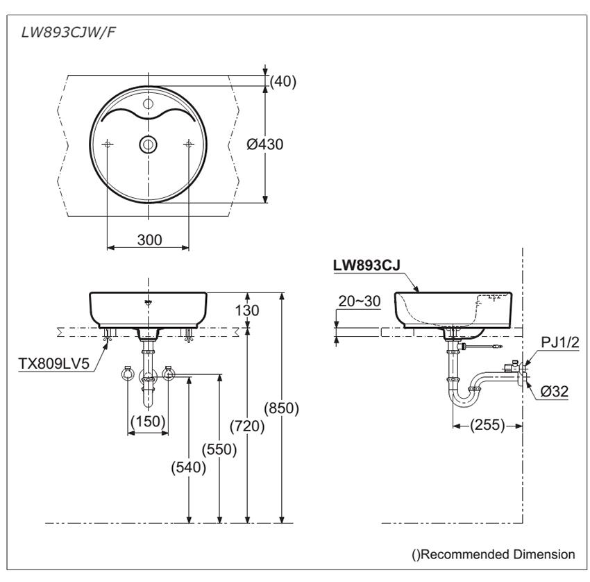 Thông số kĩ thuật lavabo đặt bàn TOTO kiểu tròn LW893CJW/F