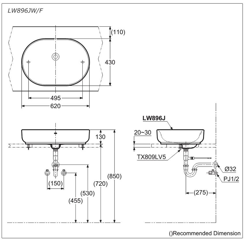 bản vẽ kĩ thuật bồn rửa mặt lavabo TOTO đặt bàn LW896JW/F