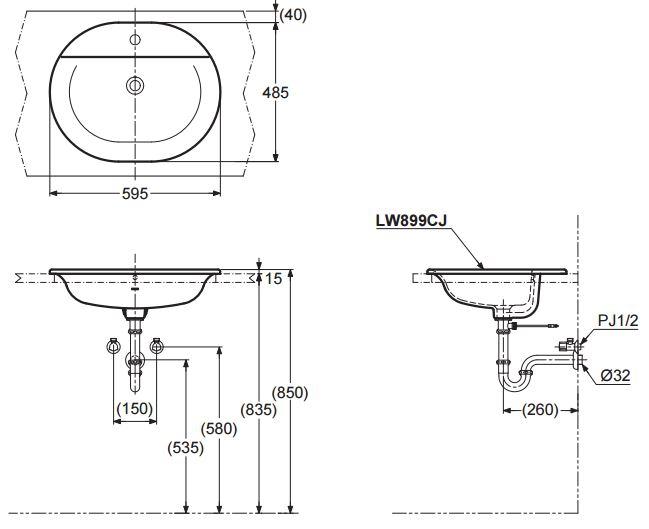 Bản vẽ kĩ thuật lavabo dương vành TOTO LW899CJ