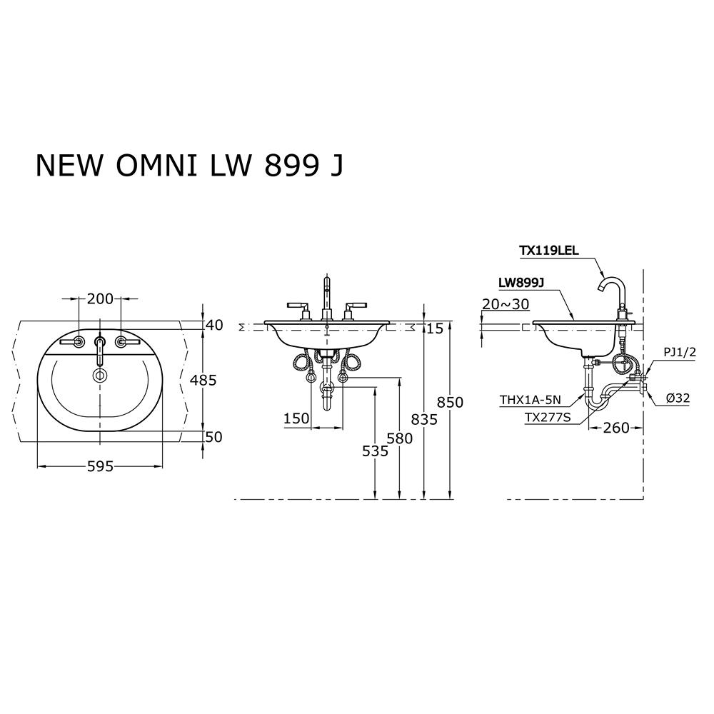 Thông số kĩ thuật lavabo dương vành TOTO LW899J