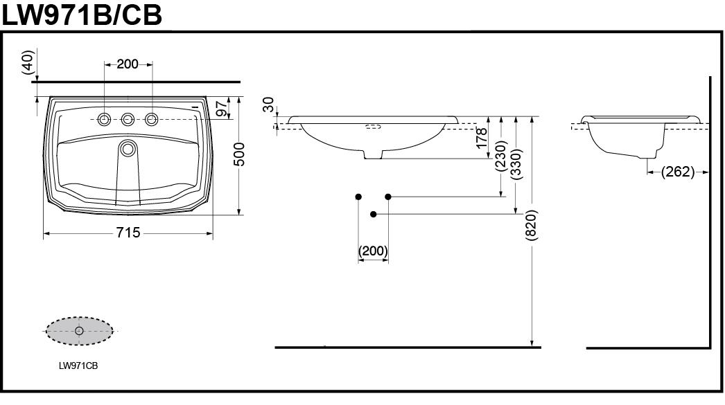 Bản vẽ kĩ thuật mẫu lavabo dương vành TOTO LW971B