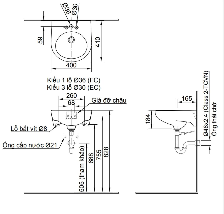 Thông số kĩ thuật lavabo treo tường kích thước nhỏ INAX L-282V