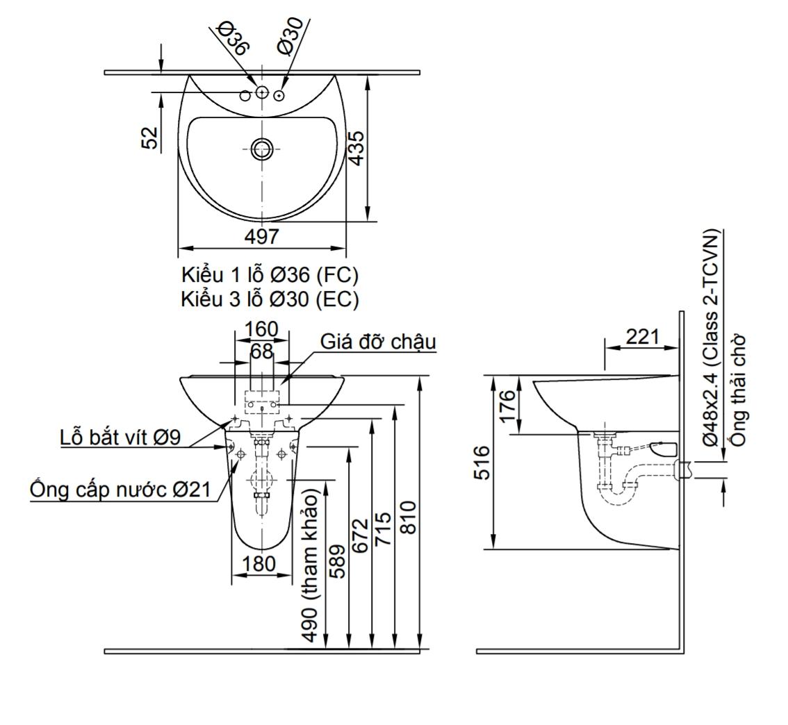 Bản vẽ thông số kĩ thuật lavabo treo tường INAX L-285V