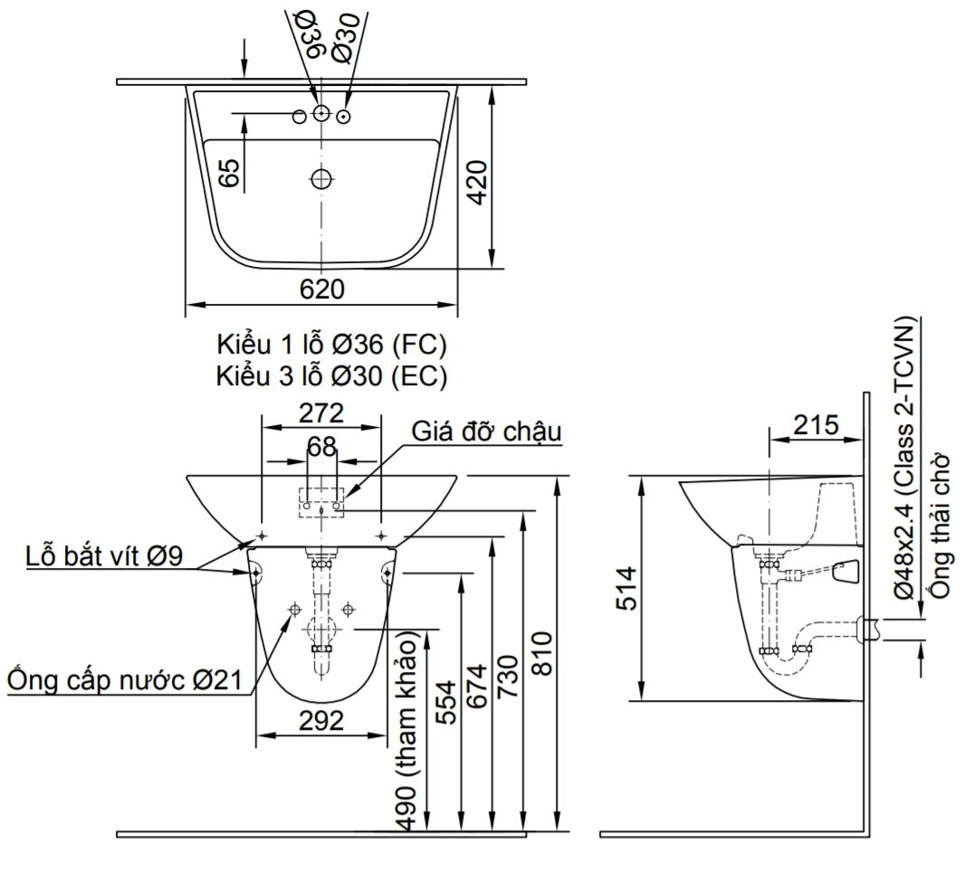 Thông số kĩ thuật chậu rửa mặt treo tường INAX L-297V