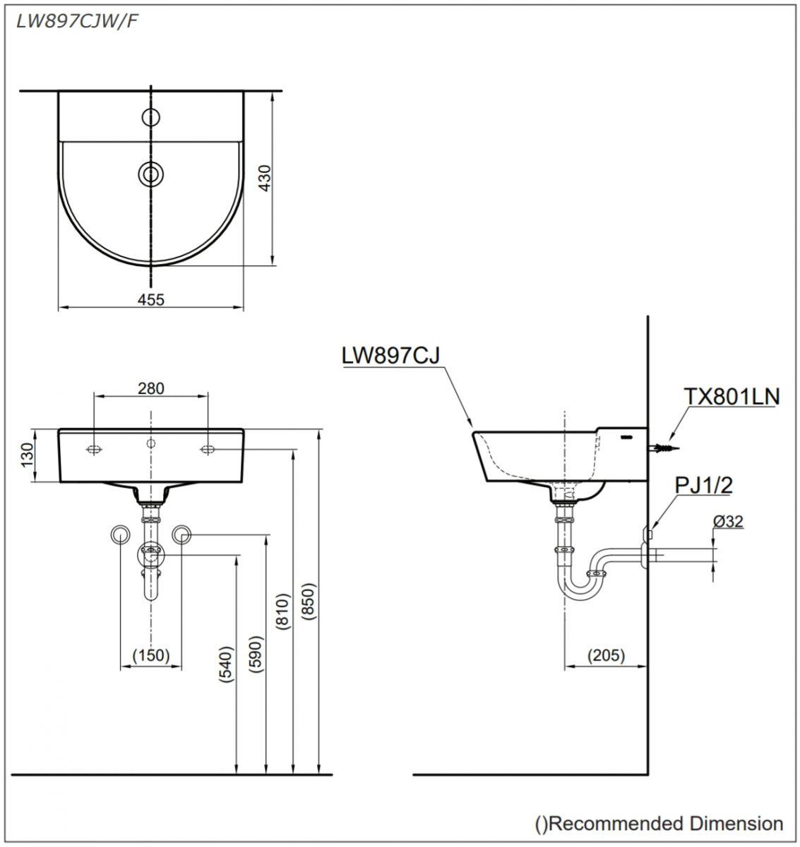 bản vẽ kĩ thuật lavabo treo tường toto LW897CJW/F