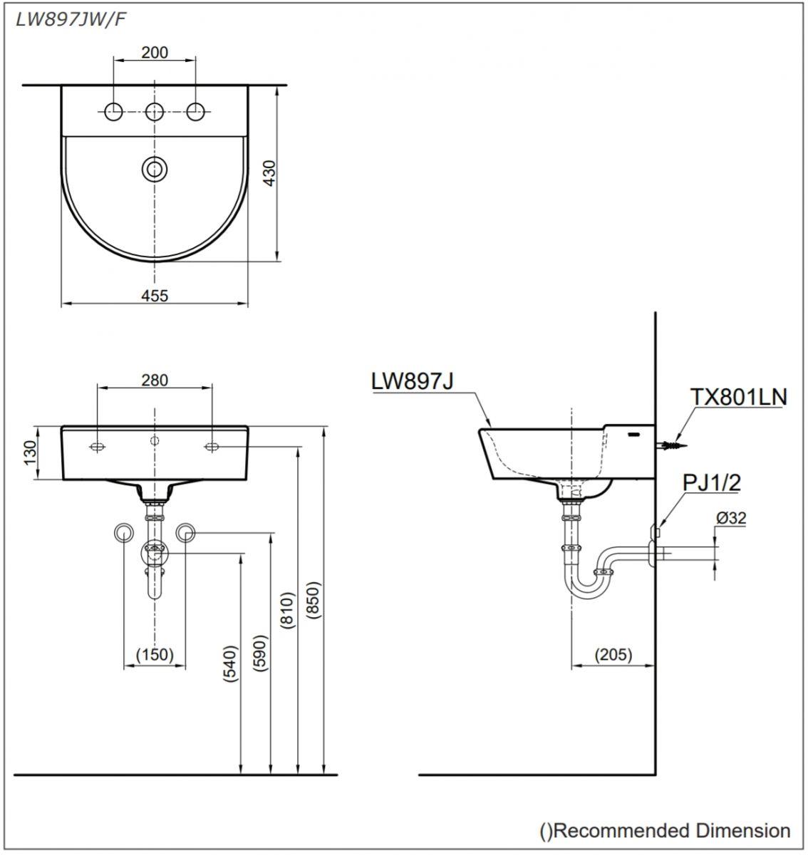 thông số kĩ thuật lavabo treo tường toto LW897JW/F