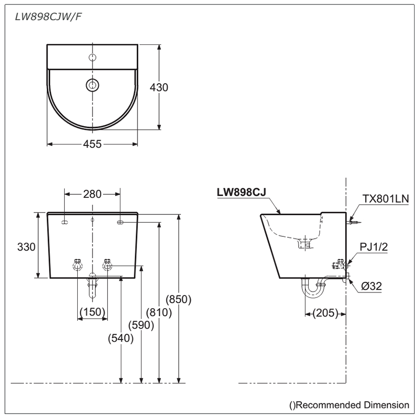Thông số kĩ thuật lavabo treo tường chất lượng cao LW898CJW/F