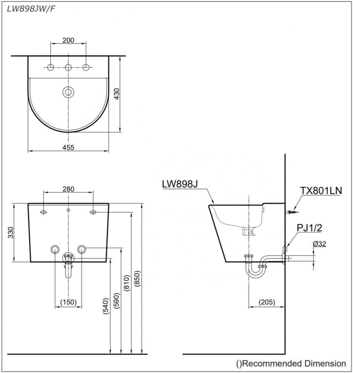 bản vẽ kĩ thuật lavabo treo tường TOTO LW898JW/F