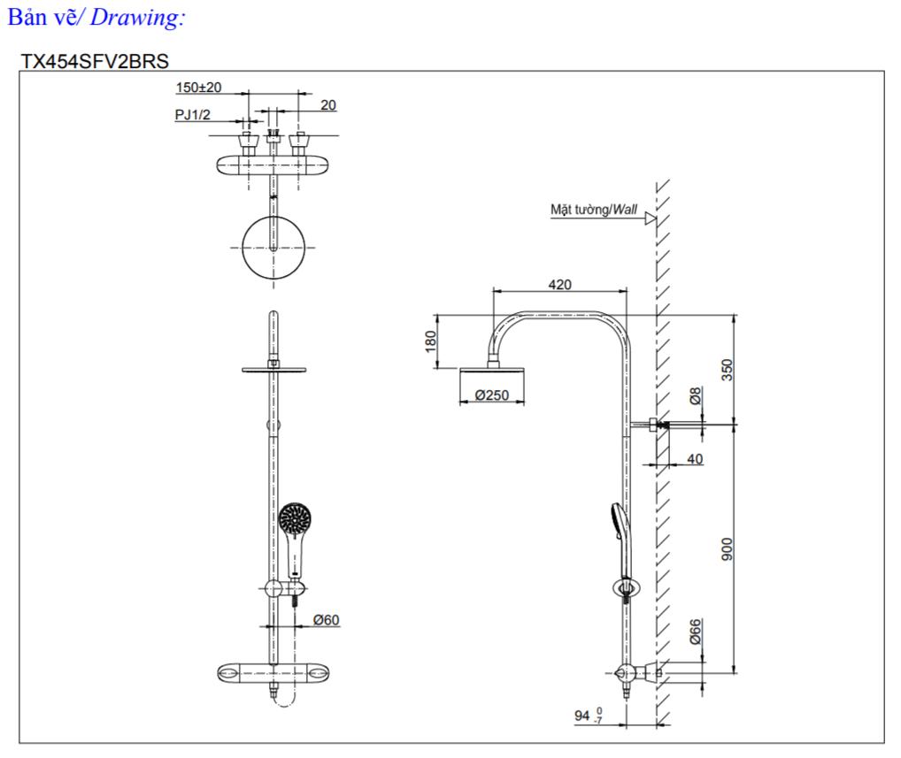 Thông số kĩ thuật Sen tắm cây nhiệt độ TOTO TX454SFV2BRS