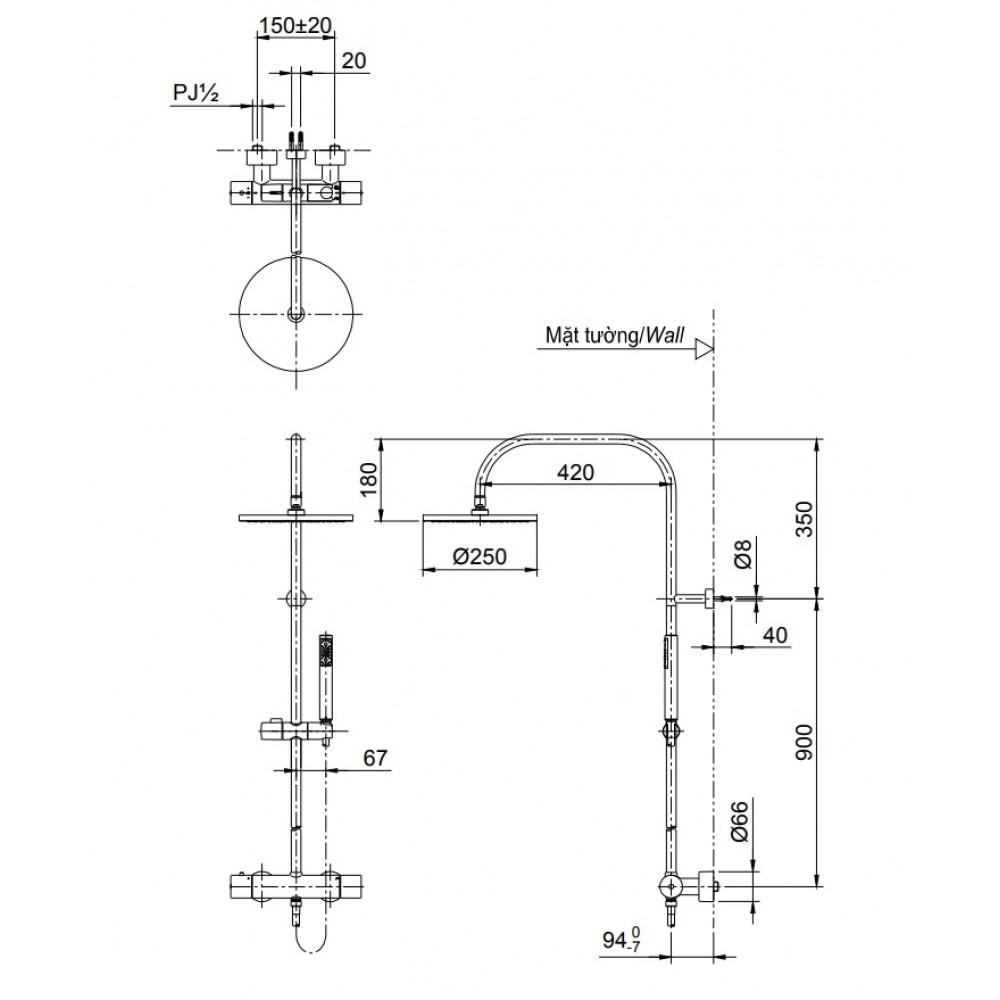 Thông số kĩ thuật của sen cây nhiệt độ TOTO TX454SESV2BRS