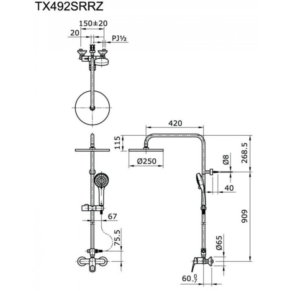 Thông số kĩ thuật Sen cây tắm nóng lạnh TOTO TX492SRRZ