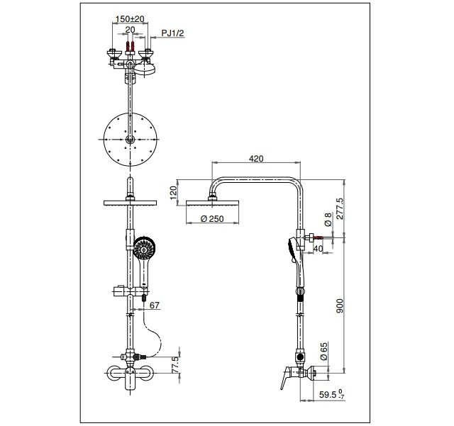 Thông số kĩ thuật sen cây tắm TOTO TX492SRS