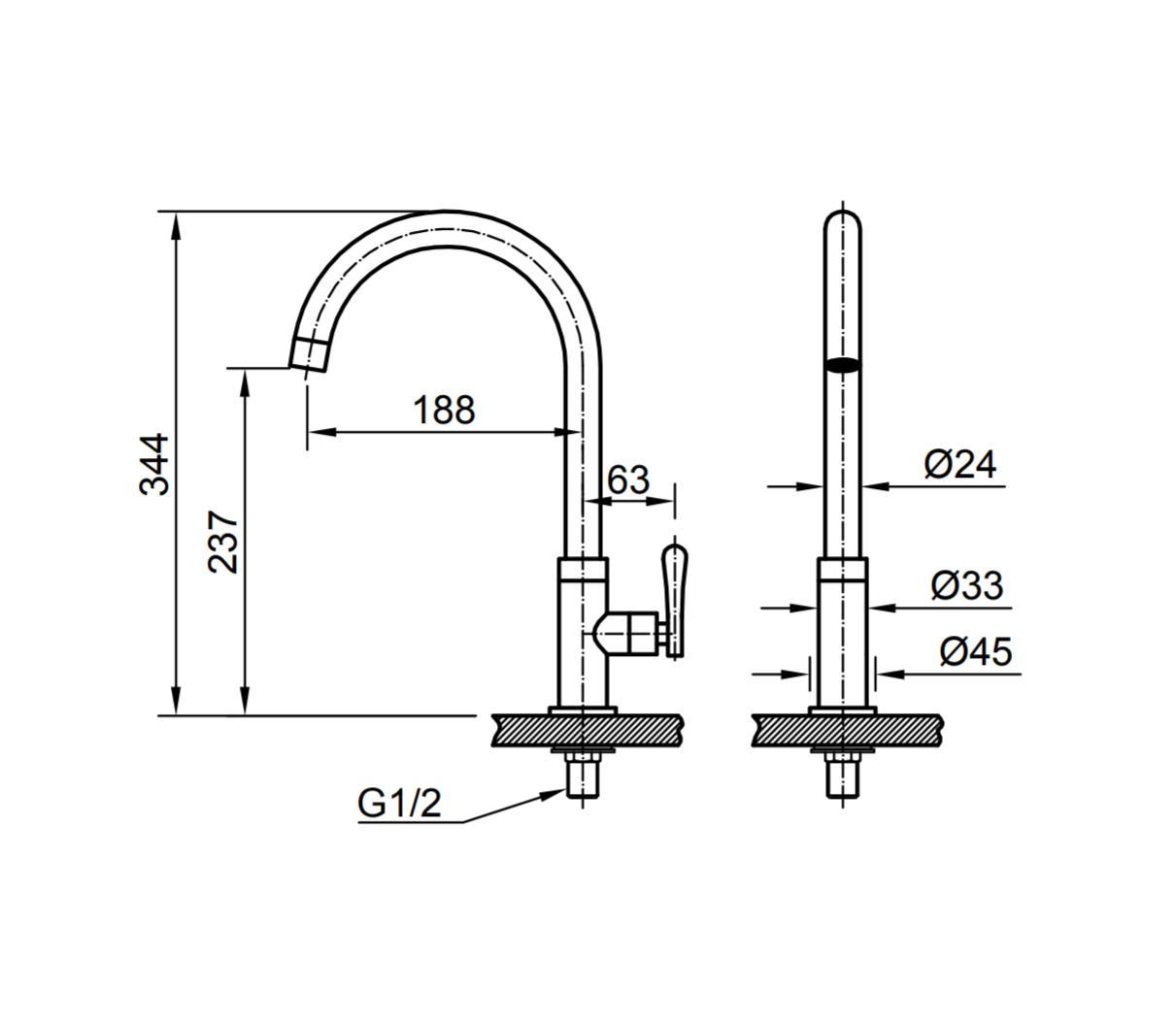 Thông số kĩ thuật vòi chậu rửa chén bát INAX SFV-31